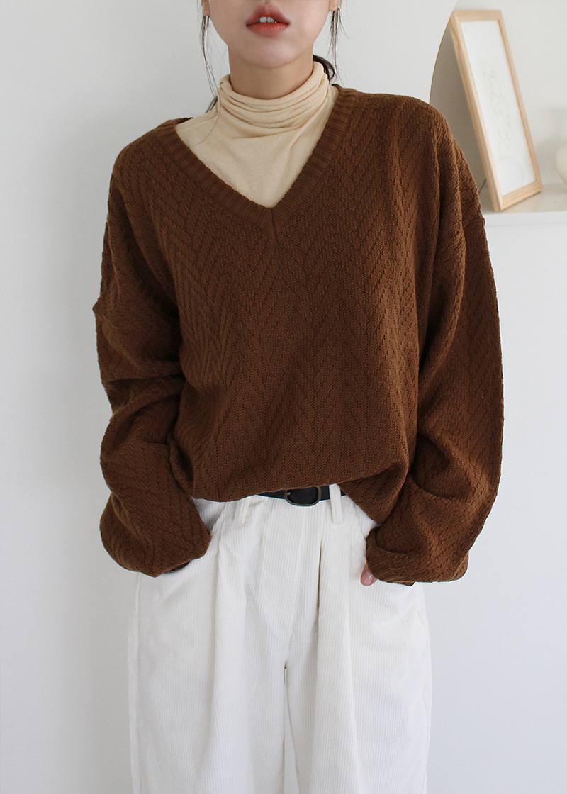 [sale] v neck cable knit (brown)