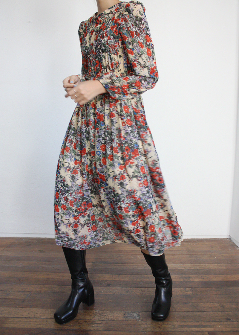 [sale] flower pattern shirring ops (2c)