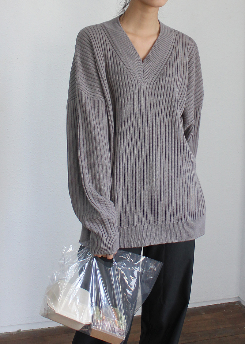 [sale] v neck corrugated knit (3c)