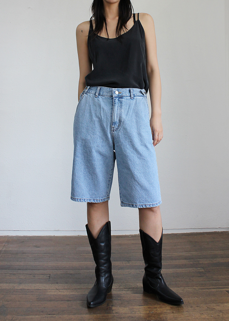 [unisex] cozy button half denim pants (3c)
