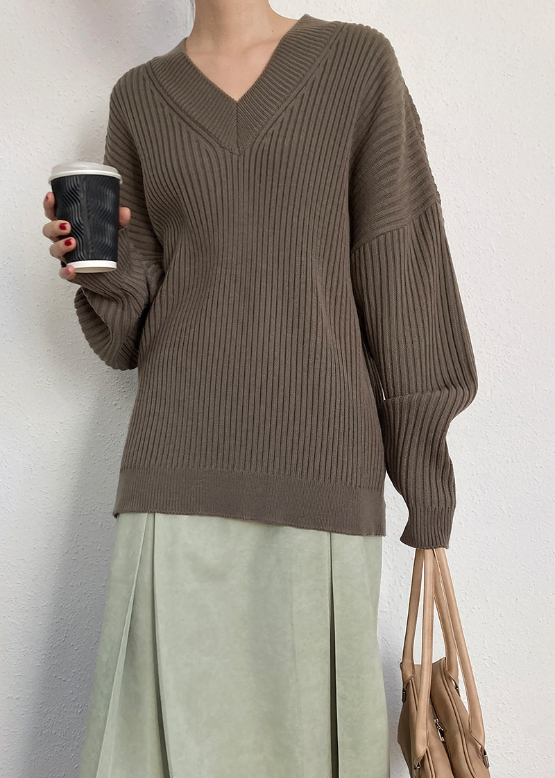 v neck corrugated knit (3c)