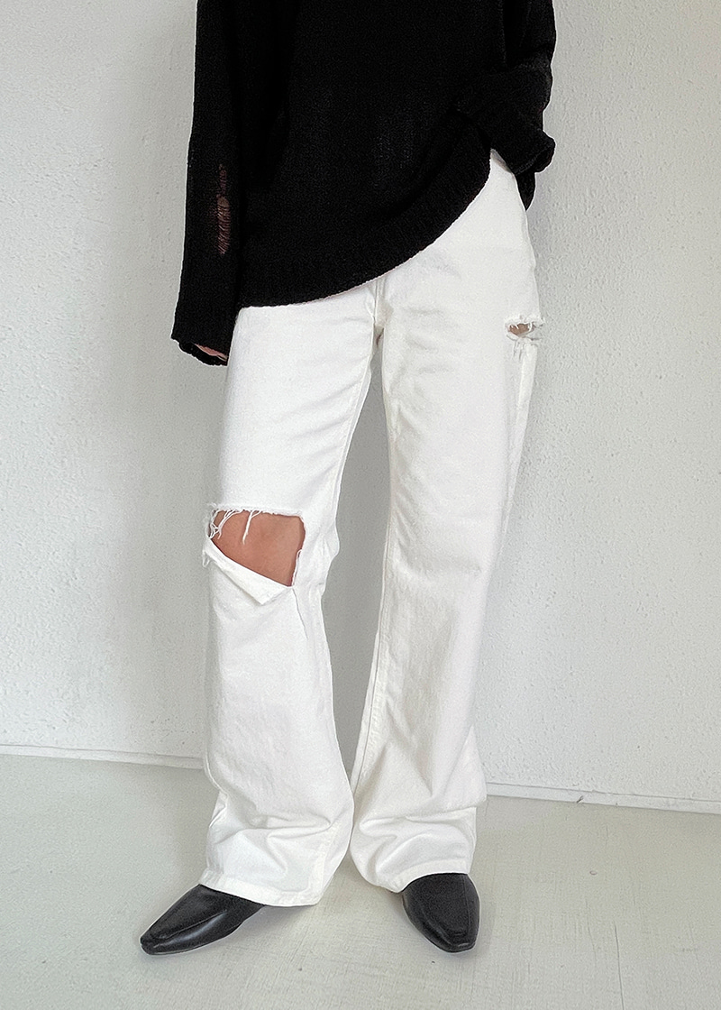 double cut white jeans (s,m)